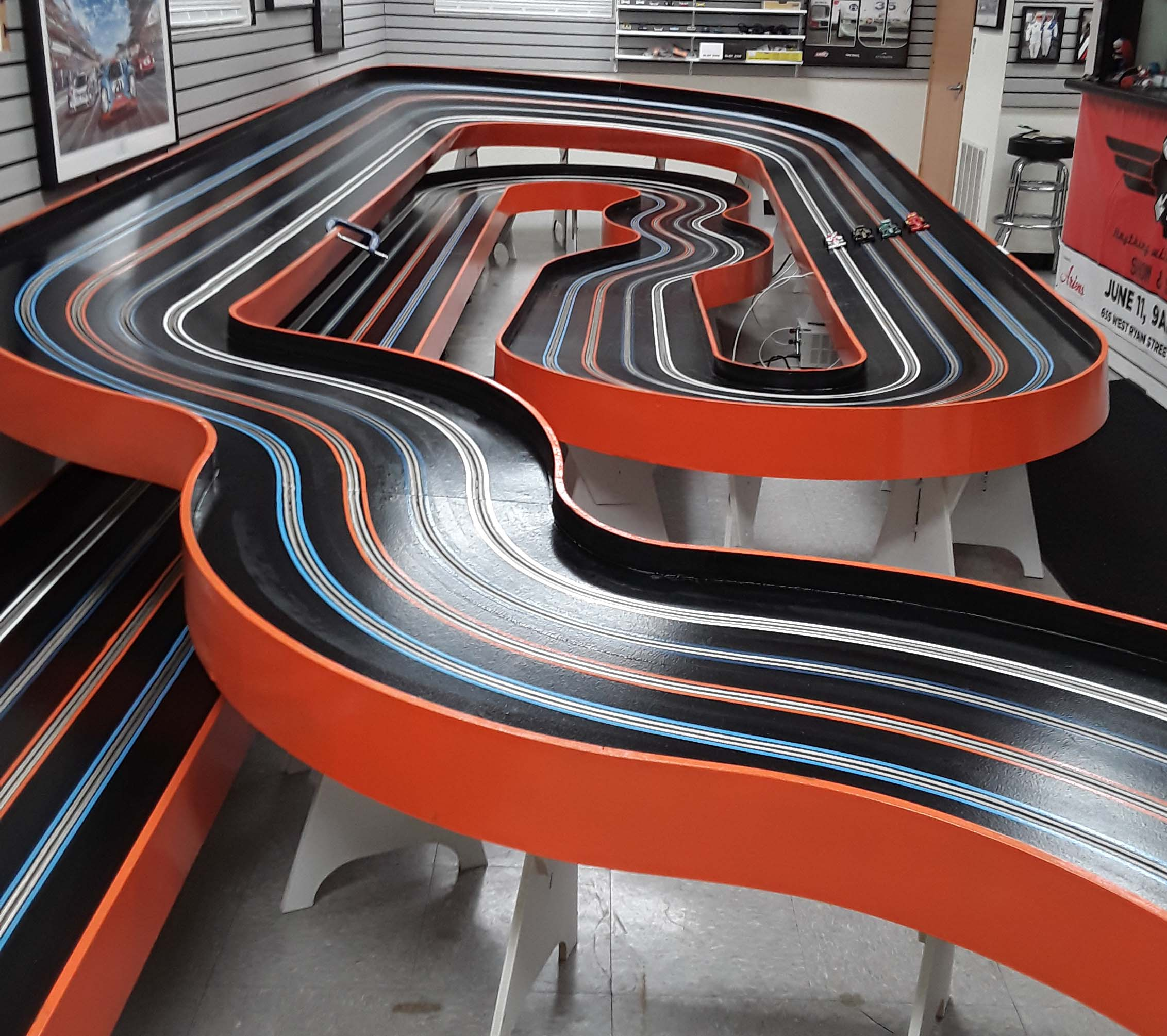 Elkhart Lake 4 lane home slot car track