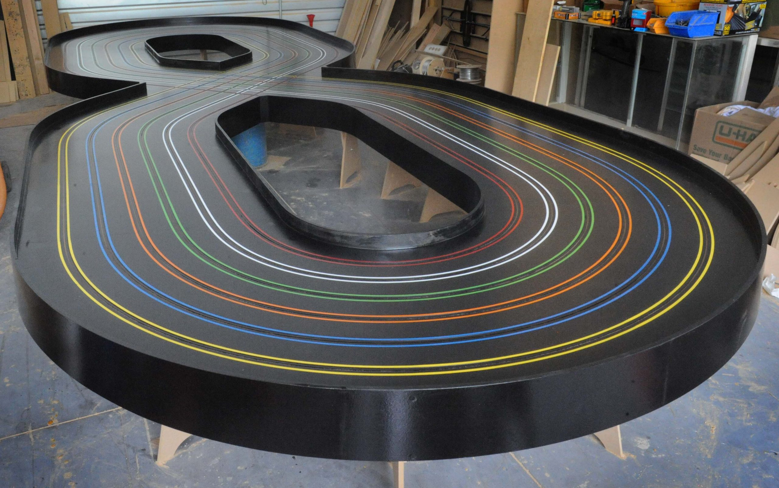 Figure 8 - 6 lane custom slot car track